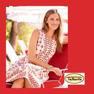 TALBOTS Bandana White Red Embroidered Dress 6